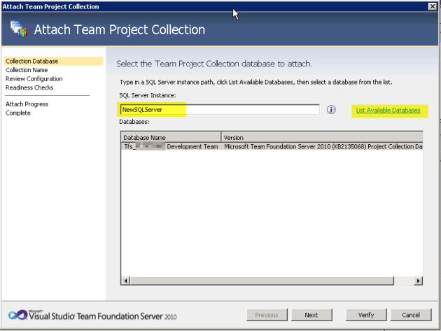 5b Attach Project Collection
