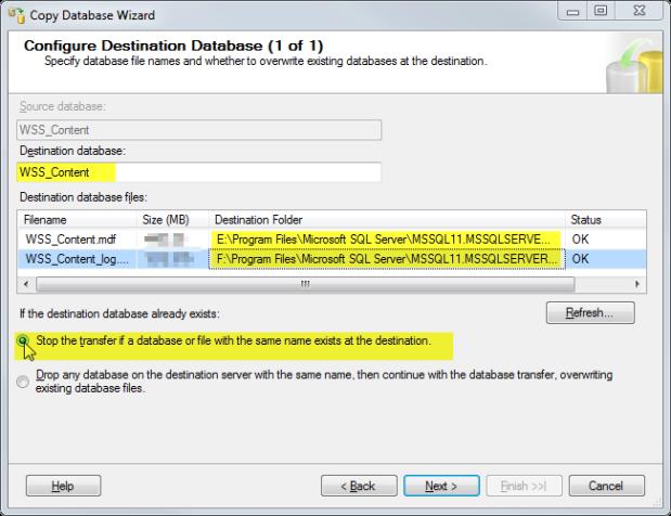 16 Configure Destination Database